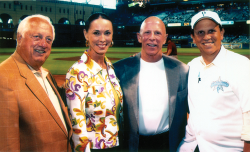 It was absolutely thrilling to be with baseball legend Tommy Lasorda and Mike Milken at  Minute Maid Park watching our much loved Houston Astros and presenting a check to the  Home Run Challenge to support vital prostate cancer research.